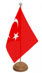 Turkey Desk / Table Flag with wooden stand and base